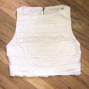 Alice + Olivia Crop Lace top size medium